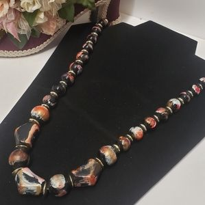 Amazing Vintage Painted Beaded Necklace